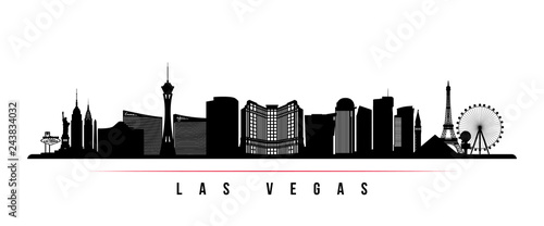 Fototapeta Las Vegas city skyline horizontal banner. Black and white silhouette of Las Vegas city, USA. Vector template for your design. obraz