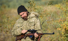 Hunter Hold Rifle. Aiming Skills. Hunting Permit. Bearded Hunter Spend Leisure Hunting. Hunting Equipment For Professionals. Hunting Is Brutal Masculine Hobby. Man Aiming Target Nature Background