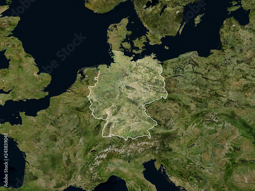 Fototapeta Satellite image of Germany with borders (Isolated imagery of Germany