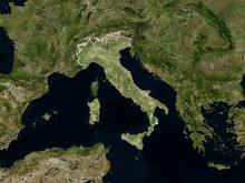 Satellite Image Of Italy With ...