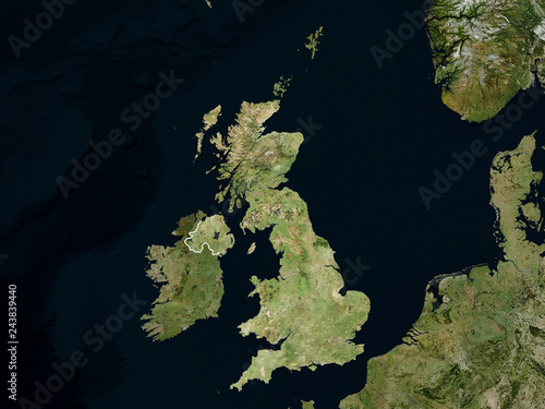 Fotografie, Obraz  Satellite image of Great Britain with borders (Isolated imagery of Great Britain