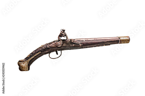 Antique gun or musket on white background. Wallpaper Mural