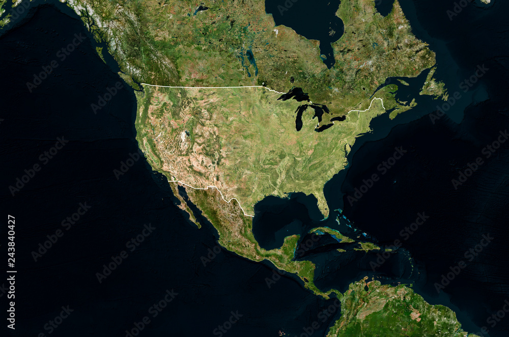 Fototapeta Satellite image of USA with borders (Isolated imagery of USA. Elements of this image furnished by NASA)