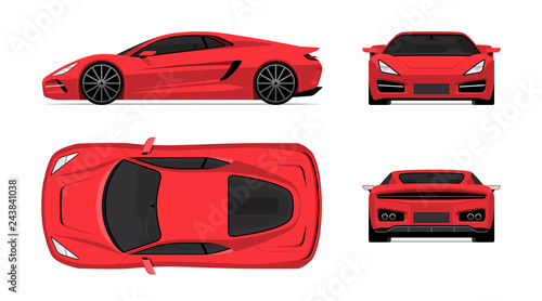 Fotomural Sports car set in flat design style
