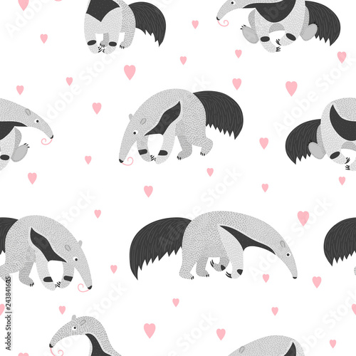 Fotografie, Obraz  Seamless pattern with cute cartoon ant eater and hearts.
