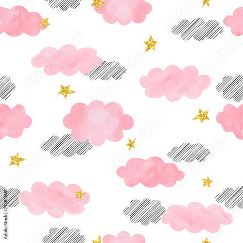 bezszwowe-rozowe-chmury-akwarela-i-gwiazdy-wzor-tlo-wektor