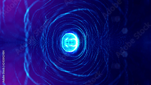 In de dag Sprookjeswereld Particles form line and surface grid. 3d rendering. Science fiction background of glowing particles with depth of field and bokeh. Motion graphics microwold. Blue circular structure 8