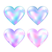 Four Holographic Mesh Hearts