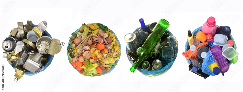 Fototapeta recycle of cans,compost,glass and plastic