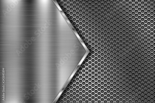 Metal perforated 3d texture with brushed iron triangle Canvas Print