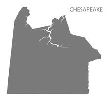 Chesapeake Virginia City Map Grey Illustration Silhouette Shape
