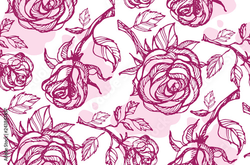 Hand drawn doodle floral flower rose pattern background