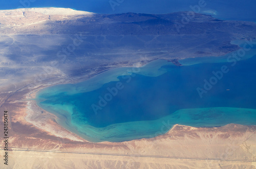 Aerial view of Sinai, Sharm El Sheikh and islands in the Red sea.