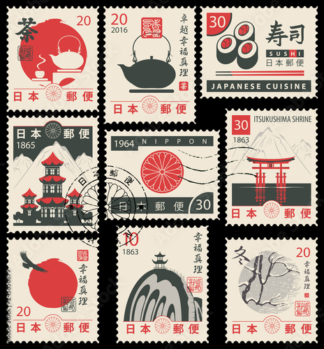Fotografía  Set of vector postage stamps on the theme of Japanese culture in retro style