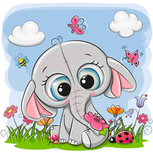 Cute Cartoon Elephant On A Meadow