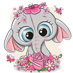 Słoń kreskówki z flowerson białym tle