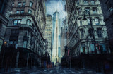 Fototapeta Nowy York - New york street during the heavy storm, rain and lighting in New York, creative picture.
