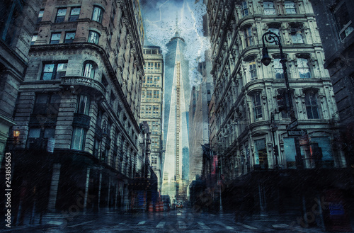 New york street during the heavy storm, rain and lighting in New York, creative picture.