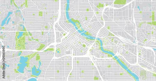 Cuadros en Lienzo Urban vector city map of Minneapolis, Minnesota, United States of America