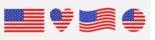 American Flag Icon Set. Waving...