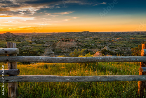 Sunset over North Dakota Badlands landscape Canvas Print