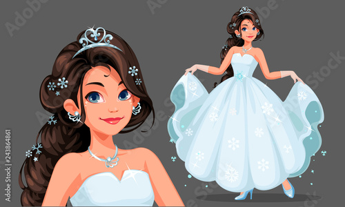 Beautiful cute princess with long braided hairstyle holding her long white dress vector illustration 1