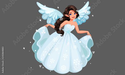 Piękna śliczna śnieżna wróżka z długą plecioną fryzurą trzyma jej długą śnieżną suknię
