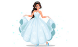 Beautiful cute princess with long braided hairstyle holding her long white dress vector illustration