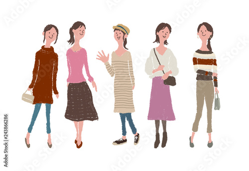 楽しげな女性たち Canvas Print