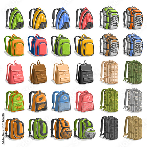 1d6fc2d70 Vector set of various Backpacks, 30 cut out variety bags with straps and  handle for army or trip, modern orange backpack for kids with soccer ball  in pocket ...