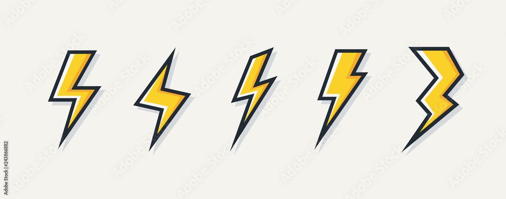 Fototapeta Vector electric lightning bolt logo set isolated on white background for electric power symbol, poster, t shirt. Thunder icon. Storm pictogram. Flash light sign. 10 eps
