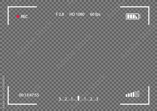 Photo Vector record frame camera template isolated on transparent background