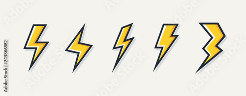 Papiers peints Cartoon voitures Vector electric lightning bolt logo set isolated on white background for electric power symbol, poster, t shirt. Thunder icon. Storm pictogram. Flash light sign. 10 eps