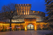 "KALININGRAD, RUSSIA. Festive Illumination Of The Museum Of Amber (tower Of ""Der Don"")"