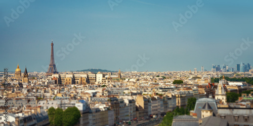Poster Centraal Europa Paris street with view on the famous paris eiffel tower on a sunny day with some sunshine