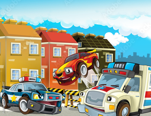 Poster Ranch cartoon scene with police chase motorcycle and car driving through the city helicopter flying and ambulance - illustration for children