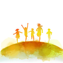 Watercolor Of Happy Kids Jumping Together . Happy Children's Day.