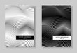 Black and white covers set. Abstract line art gradient pattern. Waving squiggle lines. Minimal futuristic layout. Two vector templates A4 for book, brochure, catalog, portfolio. EPS 10 illustration