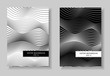 Black and white covers set. Waving squiggle lines. Conceptual futuristic layout. Abstract line art gradient pattern. Two vector templates A4 for book, booklet, brochure, portfolio. EPS 10 illustration
