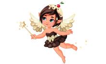 Cute Little Chocolate Vanila Fairy With Cherry On Head