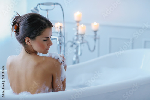 Fotografie, Obraz  Woman in a bathtub
