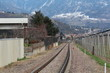 Merano, Italy - 03 20 2013: View of the streets of Merano in winter. railway