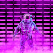 canvas print picture - The neon astronaut / 3D illustration of science fiction scene with astronaut in space suit in front of glowing neon lights