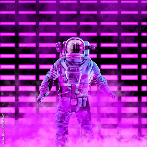 canvas print motiv - grandeduc : The neon astronaut / 3D illustration of science fiction scene with astronaut in space suit in front of glowing neon lights