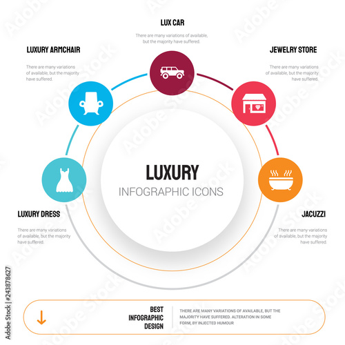 Abstract infographics of luxury template. Dress, Armchair ... on