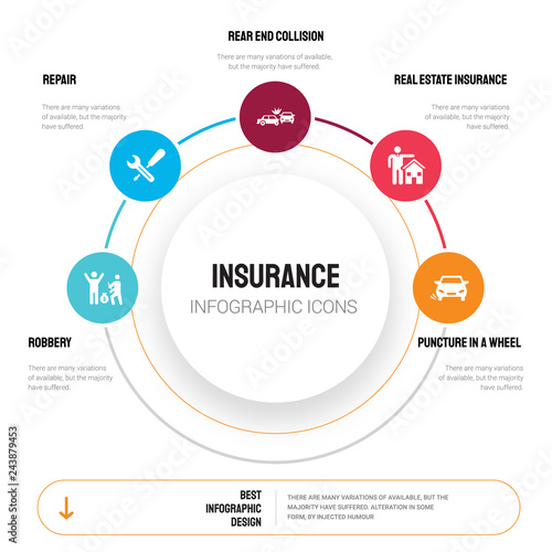 Abstract infographics of insurance template Canvas Print