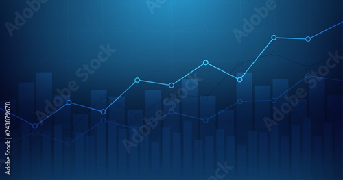 Widescreen Abstract financial graph with uptrend line and bar chart of stock market on blue color background