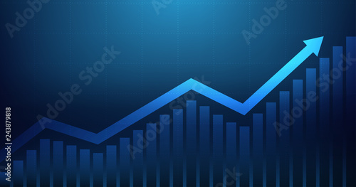 Fototapeta Widescreen Abstract financial graph with uptrend line arrow and bar chart of stock market on blue color background obraz