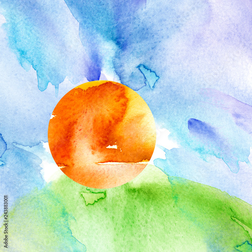 Fototapety, obrazy: Watercolor pattern, illustration, background. Sunset, dawn, yellow, orange sun, blue sky with clouds. Green grass, hill. Stain paint. Vintage illustration. Watercolor beautiful abstract background.