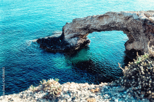 Spoed Foto op Canvas Turkoois The bridge of love or love bridge is located in one of the most beautiful tourist attractions in Ayia Napa, Cyprus.
